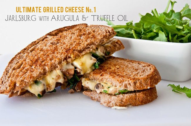 Image for a list of the Ultimate Grilled cheese sandwich of Jarlsburg Grilled Cheese with Arugula and Truffle Oil