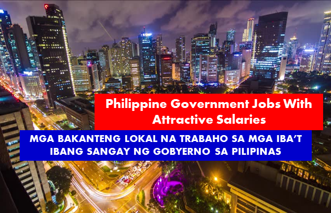 Are you looking for government a job? The following are job vacancies for you. If interested, you may contact the employer/agency listed below to inquire further or to apply.  1. ADMINISTRATIVE ASSISTANT II (AUDIO-VISUAL AIDS TECHNICIAN II)  (SG 8 – Php 15,818) needed in UP Diliman Unit: School of Urban and Regional Planning Item No.: ADAS2-2186-2004 Status: Permanent Minimum Qualifications: Education: High School Graduate or Completion of relevant vocational/trade course Experience: 1 year of relevant experience Training: 4 hours of relevant training Deadline for Application: September 29, 2017  2. DPWH (NCR) IS IN NEED OF ONE (1) COMPUTER MAINTENANCE TECHNOLOGIST (SG 15 – Php 27,565) Position: Information Systems Analyst II Item Number: INFOSA2-17-2014; INFOSA2-18-2014 Region: Central Office Central Office Information Management Service Bonifacio Drive, Port Area, Manila Qualifications: Education: Bachelors degree related to the job Experience: 1 year of relevant experience Training: 4 hours of relevant training Eligibility: Career Service (Professional) Second Level Eligibility Deadline for Application: September 25, 2017  3. DPWH (CAR) IS IN NEED OF ONE (1) CONSTRUCTION AND MAINTENANCE CAPATAZ (SG 5 – Php 12,975 ) Item Number: CMCZ-90038-2017 Region: Cordillera Administrative Region Mountain Province District Engineering Office Mountain Province Second District Engineering Office Natonin, Mt. Province Qualifications: Education: Elementary School Graduate Experience: None required Training: None required Eligibility: None required (MC II, s 96-Cat III) For more information, contact: Staffing & Employment Section at 304-3288/304-3550 Deadline for Application: September 24, 2017  4. DPWH (NCR) IS IN NEED OF TWO (2) INFORMATION TECHNOLOGY OFFICER I (SG 19 – Php 39,151) Item Number: ITO1-13-2014; ITO1-16-2014 Region: Central Office Central Office  Information Management Service Bonifacio Drive, Port Area, Manila Qualifications: Education: Bachelors degree related to the job Experience: Two (2) years of relevant experience Training: Eight (8) hours of relevant training Eligibility: Career Service (Professional), Second Level Eligibility For more information, contact: Staffing & Employment Section at 304-3288/304-3550 Deadline for Application: September 25, 2017  5. DPWH (NCR – MANILA) IS IN NEED OF TWO (2) AIR-CONDITIONING TECHNICIAN I (SG 6 -Php 13,851 Region: Central Office Central Office Facilities and Maintenance Division, HRAS Bonifacio Drive, Port Area, Manila Qualifications: Education: Highschool graduate or completion of relevant vocational/trade course Experience: None required Training: None required Eligibility: Electrician Air-Conditioning/Refrigeration Technician (MC 11, 96-Cat. I) For more information, contact: Staffing & Employment Section at 304-3288/304-3550 Deadline for Application: September 18, 2017  6. DPWH (NCR – MANILA) IS IN NEED OF ONE (1) ELECTRICIAN II  (SG 6 -Php 13,851) Region: Central Office Central Office Facilities and Maintenance Division, HRAS Bonifacio Drive, Port Area, Manila Qualifications: Education: Highschool graduate or completion of relevant vocational/trade course Experience: None required Training: None required Eligibility: Electrician (MC 10, s 2013-Cat II) For more information, contact: Staffing & Employment Section at 304-3288/304-3550 Deadline for Application: September 18, 2017  7. DSWD (REGION 7) IS IN NEED OF ONE (1) REGIONAL TRAINING ASSISTANT  (SG 11 – Php 19,620). Status of Employment: Contract of Service Place of Assignment: Region VII CSC PRESCRIBED QUALIFICATION STANDARDS Education: Graduate of Social Sciences courses including but not limited to Social Work, Community Development, Sociology, Psychology and Development Communication Experience: One (1) year of relevant experience Training: None required Eligibility: None required  8. DSWD (REGION 7) IS IN NEED OF ONE (1) ADMINISTRATIVE ASSISTANT (DRIVER)  (SG 4 – Php 12,155) status of Employment: Contract of Service Place of Assignment: Region VII CSC PRESCRIBED QUALIFICATION STANDARDS Education: High School Graduate Experience: One (1) year of relevant experience Training: None required Eligibility: Professional Driver's License  9. DSWD (NCR – MANILA) IS IN NEED OF ADMINISTRATIVE ASSISTANT II (SG 8 – Php 15,818) Status of Employment: Contractual Place of Assignment: Malate, Manila (MiMaRoPa) (Office Support) CSC PRESCRIBED QUALIFICATION STANDARDS Education: College graduate Experience: One (1) year of relevant experience Training: 4 hours relevant training Eligibility: None required  SOURCE: philippinegovernmentjobs.com  JOB OPPORTUNITY IN DEPARTMENT OF ENERGY TAGUIG CITY  ANNOUNCEMENT OF VACANT POSITION  POSTED ON: FRIDAY, SEPTEMBER 15, 2017 Deadline for Submission of Applications: Monday, September 25, 2017 Email to: recruitment@doe.gov.ph  LIST OF VACANT POSITIONS  10. ADMINISTRATIVE OFFICER V (CASHIER III) 2 Position Salary Grade/Salary Rate per Month 18/ Php 35,693 Qualification Standards: Education: Bachelor's degree relevant to the job Experience: Two (2) years of relevant experience Training:  Eight (8) hours of relevant training Eligibility: CS Professional/Second level eligibility Office of Assignment: Item number  Treasury Division: OSEC-DOEB-ADOF5-22-2006  11. ADMINISTRATIVE ASSISTANT III (COMPUTER OPERATOR II) 3 Position Salary Grade/Salary Rate per Month :  Php 16,986 Qualification Standards: Education: Completion of two (2) years college studies Experience: One (1) year  of relevant experience Training: Four (4) hours of relevant training Eligibility: CS Subprofessional/First level eligibility Office of Assignment: Item number Renewable Energy Legal Services Division OSEC-DOEB-ADAS3-14-2016  12. ADMINISTRATIVE ASSISTANT III 4 Position Salary Grade/Salary Rate per Month : 9/ Php 16,986 Qualification Standards: Education: Completion of two (2) years college studies Experience: One (1) year  of relevant experience Training:  Four (4) hours of relevant training Eligibility: CS Subprofessional/First level eligibility Office of Assignment: Item number Downstream Conventional Energy Legal Services: Division OSEC-DOEB-ADAS3-8-2016  13. LEGAL ASSISTANT II 2 Position Salary Grade/Salary Rate per Month: 12/ Php 21,387 Qualification Standards: Education: Bachelor's Degree in Legal Management, AB Paralegal Studies, Law, Political Science or other allied courses Experience: None required Training: Four (4) hours of training relevant to legal work, such as legal ethics, legal research and writing, or legal procedure Eligibility: CS Professional/Second level eligibility Office of Assignment: Item number 1. Power Legal Services Division: OSEC-DOEB-LEA2-16-2016 2. Renewable Energy Legal Services Division: C-DOEB-LEA2-15-2016 3. Downstream Conventional Energy Legal Services    Division: OSEC-DOEB-LEA2-8-2002 4. General Legal Services Division: OSEC-DOEB-LEA2-17-2016 5. Upstream Conventional Energy Legal Services     Division:    (2 vacancies): OSEC-DOEB-LEA2-10,11-2002  14. FISCAL CLERK III 3  PositionFiscal Salary Grade: 8/Php 15,818 Qualification Standards: Education: Completion of two (2) years studies in college Experience: One (1) year of relevant experience Training:  Four (4) hours of relevant training Eligibility: CS Subprofessional/First level  eligibility Office of Assignment: Item number Conventional Energy Resources Compliance Division: OSEC-DOEB-FCK3-23-2002  SOURCE : www.doe.gov.ph  15. CORPORATE GOVERNANCE OFFICER I GOVERNANCE COMMISSION Less than 1 year experience Telephone No.: 63-2-3252033 WORK LOCATION Address: 3/F Citibank Centre Paseo de Roxas Avenue, Makati  16. COMPANY NURSE (GOVERNMENT) LBP Service Corporation (Recruitment Firm) Min 1 year (1-4 Yrs Experienced Employee) Philippines - National Capital Reg - Manila City - Roxas Blvd.  17. ADMIN ASSISTANT (GOVERNMENT) LBP Service Corporation (Recruitment Firm) PHP 11,000 - PHP 12,000 Less than 1 year experience Philippines - National Capital Reg - Malate, Manila  18. GOVERNMENT COMPLIANCE STAFF Philippine Spring Water Resources, Inc. Min 1 year (1-4 Yrs Experienced Employee) Telephone No: 0323462008 WORK LOCATION Address:  Km. 6 Purok 47 Ma-a Road, Davao City, Philippines  19. STOREKEEPER II Court of Tax Appeals PHP 12,000 - PHP 15,600 Less than 1 year experience Website http://cta.judiciary.gov.ph/ Telephone No.: 9204249 loc. 244 WORK LOCATION Address: National Government Center, Agham Road, North Triangle, Diliman, Quezon City  20. TECHNICAL ASSISTANT- INFORMATION TECHNOLOGY (CHED INTERNATIONAL AFFAIRS STAFF) Commission of Higher Education - Higher Education Reform Agenda (HERA) PHP 60,000 - PHP 83,468 Min 5 years (Supervisor/5 Yrs & Up Experienced Employee) Website: http://www.ched.gov.ph/ WORK LOCATION Address: CHED, C.P. Garcia Avenue, Quezon City, NCR, Philippines  21. TECHNICAL ASSISTANT- INFORMATION SYSTEM (CHED INTERNATIONAL AFFAIRS STAFF) Commission of Higher Education - Higher Education Reform Agenda (HERA) PHP 60,000 - PHP 83,468 Min 5 years (Supervisor/5 Yrs & Up Experienced Employee) Website: http://www.ched.gov.ph/ WORK LOCATION Address: CHED, C.P. Garcia Avenue, Quezon City, NCR, Philippines  22. ADMINISTRATIVE ASSISTANT Philippine Veterans Affairs Office PHP 14,999 - PHP 15,000 Less than 1 year experience Website: http://www.pvao.mil.ph/ Telephone No.: 912-1929 WORK LOCATION Address:  Philippine Veterans Affairs Office, Camp General Emilio,Quezon City, Metro Manila, Philippines  23. ELECTION ASSISTANT II (OEO PAVIA, ILOILO) Commission on Elections Less than 1 year experience Website: http://www.comelec.gov.ph/ WORK LOCATION Address: 8F Palacio del Gobernador Intramuros Manila  24. TECHNICAL ASSISTANT GOVERNANCE COMMISSION Less than 1 year experience Telephone No.: 63-2-3252033 WORK LOCATION Address: 3/F Citibank Centre Paseo de Roxas Avenue, Makati  25. ADMINISTRATIVE ASSISTANT GOVERNANCE COMMISSION Less than 1 year experience Telephone No.: 63-2-3252033 WORK LOCATION Address: 3/F Citibank Centre Paseo de Roxas Avenue, Makati  26. CONTRACT OF SERVICE (ACCOUNTS CLERK) Department of Foreign Affairs PHP 12,000 - PHP 13,800 Less than 1 year experience Website: http://www.dfa.gov.ph/ Telephone No.: 02 834-3137 WORK LOCATION Address: DFA Building 2330 Roxas Boulevard Pasay City, National Capital Region 1300  27. ADMINISTRATIVE AIDE VI - BUREAU OF INTERNAL TRADE RELATIONS Department of Trade and Industry PHP 13,000 - PHP 13,851 Min 1 year (1-4 Yrs Experienced Employee) Website: http://www.dti.gov.ph Telephone No.: 63-2-7510384 WORK LOCATION Address: 361 Senator Gil Puyat Avenue, Makati City, Metro Manila, Philippines  28. ADMINISTRATIVE ASSISTANT II Commission On Filipinos Overseas Min 1 year (1-4 Yrs Experienced Employee) Website: www.cfo.gov.ph WORK LOCATION Address: Citigold Center, 1345 Pres. Quirino Ave. cor. Osmeña Highway, Manila  29. COMPUTER PROGRAMMER II Commission On Filipinos Overseas Min 1 year (1-4 Yrs Experienced Employee) Website: www.cfo.gov.ph WORK LOCATION Address: Citigold Center, 1345 Pres. Quirino Ave. cor. Osmeña Highway, Manila  30. ADMINISTRATIVE AIDE IV (DRIVER) National Nutrition Council Min 1 year (1-4 Yrs Experienced Employee) Telephone No.: 8164239 WORK LOCATION Address: 2332 Chino Roces Avenue Extension, Taguig City  31. ADMINISTRATIVE ASSISTANT II (ARTIST-ILLUSTRATOR) National Nutrition Council Min 1 year (1-4 Yrs Experienced Employee) Telephone No.: 8164239 WORK LOCATION Address: 2332 Chino Roces Avenue Extension, Taguig City  32. ADMINISTRATIVE AIDE VI (CLERK III) National Nutrition Council Less than 1 year experience Telephone No.: 8164239 WORK LOCATION Address: 2332 Chino Roces Avenue Extension, Taguig City  33. ELECTION ASSISTANT II (OEO MIDSAYAP, NORTH COTOBATO) Commission on Elections Less than 1 year experience Website: http://www.comelec.gov.ph/ WORK LOCATION Address: 8F Palacio del Gobernador Intramuros Manila  34. ELECTION ASSISTANT II (OEO KUMALARANG, ZAMBOANGA DEL SUR) Commission on Elections Less than 1 year experience Website: http://www.comelec.gov.ph/ WORK LOCATION Address: 8F Palacio del Gobernador Intramuros Manila  35. ELECTION ASSISTANT II (OEO IMELDA, ZAMBOANGA DEL SUR) Commission on Elections Less than 1 year experience Website: http://www.comelec.gov.ph/ WORK LOCATION Address: 8F Palacio del Gobernador Intramuros Manila  36. ELECTION ASSISTANT II (OEO BUNAWAN, AGUSAN DEL SUR) Commission on Elections Less than 1 year experience Website: http://www.comelec.gov.ph/ WORK LOCATION Address: 8F Palacio del Gobernador Intramuros Manila  37. ELECTION ASSISTANT II (OPES AGUSAN DEL SUR) Commission on Elections Less than 1 year experience Website: http://www.comelec.gov.ph/ WORK LOCATION Address: 8F Palacio del Gobernador Intramuros Manila  38. ELECTION ASSISTANT II (OEO GEN. LUNA, SURIGAO DEL SUR) Commission on Elections Less than 1 year experience Website: http://www.comelec.gov.ph/ WORK LOCATION Address: 8F Palacio del Gobernador Intramuros Manila  39. ELECTION ASSISTANT II (OPES MAGUINDANAO) Commission on Elections Less than 1 year experience Website: http://www.comelec.gov.ph/ WORK LOCATION Address: 8F Palacio del Gobernador Intramuros Manila  40. ELECTION ASSISTANT II (OEO SIASI, SULU) Commission on Elections Less than 1 year experience Website: http://www.comelec.gov.ph/ WORK LOCATION Address: 8F Palacio del Gobernador Intramuros Manila  41. CASHIER B Tourism Infrastructure And Enterprise Zone Authority Min 1 year (1-4 Yrs Experienced Employee) Website: https://tieza.gov.ph/ Telephone No.:  (02) 551-4014 | (02) 551-3105 WORK LOCATION Address: 5th floor, 142 Amorsolo St., Legaspi Village Makati City  42. CASHIER A Tourism Infrastructure And Enterprise Zone Authority Min 1 year (1-4 Yrs Experienced Employee) Website: https://tieza.gov.ph/ Telephone No.: (02) 551-4014 | (02) 551-3105 WORK LOCATION Address: 5th floor, 142 Amorsolo St., Legaspi Village Makati City  43. STAFF ASSISTANT (AUTO MECHANIC) Government Service Insurance System (GSIS) Less than 1 year experience Website: http://www.gsis.gov.ph/ Telephone No.: 02 479-3600 and 02 976-4900 WORK LOCATION Address: GSIS Financial Center Bldg., Roxas Blvd., Pasay City, NCR, Philippines  44. ADMINISTRATIVE AIDE IV (ACCOUNTING CLERK I) Commission on Elections Less than 1 year experience Website: http://www.comelec.gov.ph/ WORK LOCATION Address: 8F Palacio del Gobernador Intramuros Manila  45. SECURITY GUARD II (ADMINISTRATIVE SERVICES DEPARTMENT) Commission on Elections Less than 1 year experience Website: http://www.comelec.gov.ph/ WORK LOCATION Address: 8F Palacio del Gobernador Intramuros Manila  46. ADMINISTRATIVE ASSISTANT (DRIVER) DSWD Region VII Min 1 year (1-4 Yrs Experienced Employee) Website: http://dswd.gov.ph WORK LOCATION Address: M.J. Cuenco Avenue Corner General Maxilom Avenue Extension, Barangay Carreta, Cebu City  47. REGIONAL TRAINING ASSISTANT DSWD Region VII Min 1 year (1-4 Yrs Experienced Employee) Website: http://dswd.gov.ph WORK LOCATION Address: M.J. Cuenco Avenue Corner General Maxilom Avenue Extension, Barangay Carreta, Cebu City  48. HEAVY EQUIPMENT OPERATOR III Metropolitan Manila Development Authority Less than 1 year experience Website: http://www.mmda.gov.ph/ WORK LOCATION Address:  5F OAGMP MMDA Building, EDSA corner Orense Street, Guadalupe, Makati City  49. ELECTRONICS & COMMUNICATION EQUIPMENT TECHNICIAN I Metropolitan Manila Development Authority Less than 1 year experience Website: http://www.mmda.gov.ph/ WORK LOCATION Address: 5F OAGMP MMDA Building, EDSA corner Orense Street, Guadalupe, Makati City  50. DRAFTSMAN II Metals Industry Research and Development Center (MIRDC) PHP 15,000 - PHP 16,000 Min 1 year (1-4 Yrs Experienced Employee) Website: http://www.mirdc.dost.gov.ph Telephone No.: 837 0432 to 38 WORK LOCATION Address: MIRDC Compound Gen. Santos Avenue Bicutan Taguig City  51. ADMINISTRATIVE ASSISTANT V (AUXILIARY MACHINE OPERATOR IV) Commission on Elections Min 1 year (1-4 Yrs Experienced Employee) Website: http://www.comelec.gov.ph/ WORK LOCATION Address: 8F Palacio del Gobernador Intramuros Manila  DISCLAIMER: Thoughtskoto is not affiliated to any of these companies. The information gathered here is verified and gathered from the philippinegovernmentjobs and www.doe.gov.ph  website.