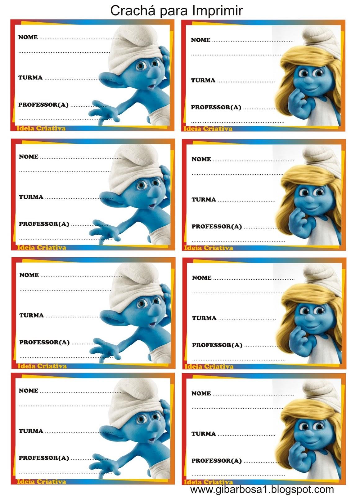 Crachas Para Imprimir Os Smurfs