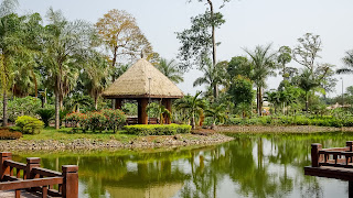 Temple at the lake of Equatorial Guinea