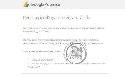 Pembayaran Google Adsense bulan Januari 2017