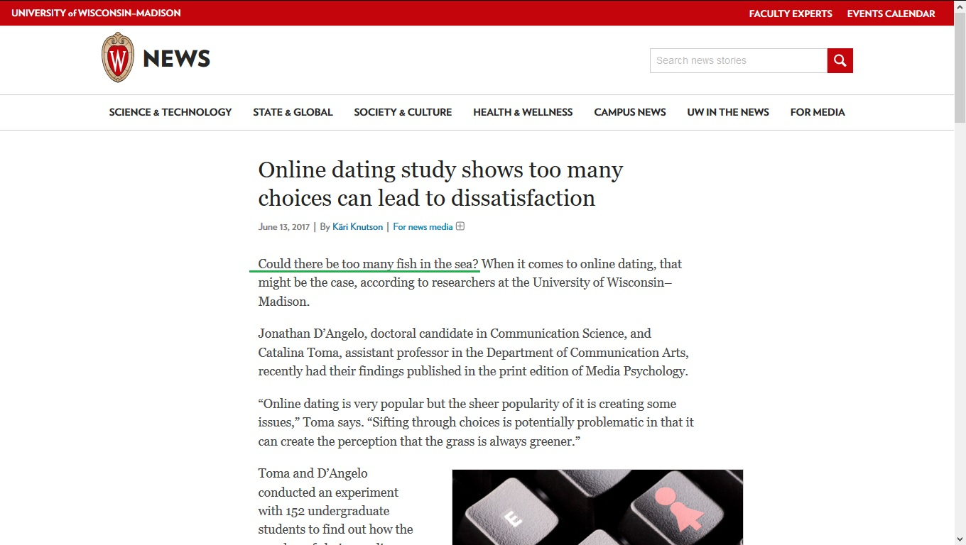 Article on online dating in Australia