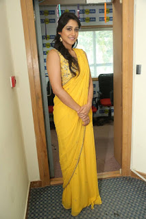 Regina Candra Stills in Yellow Saree at 92.7 BIG FM ~ Bollywood and South Indian Cinema Actress Exclusive Picture Galleries