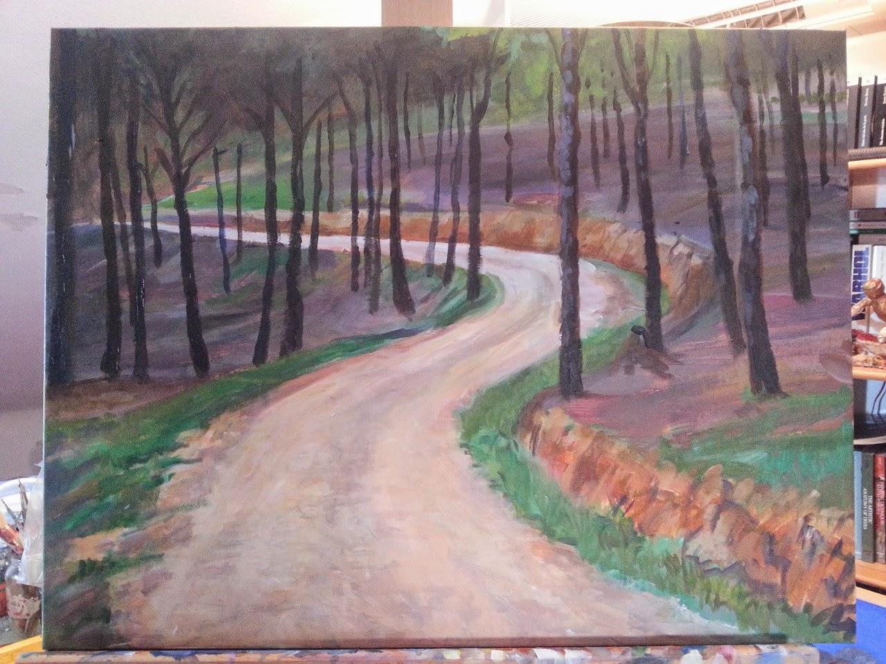 Pintando en cualquier parte paisaje pintado paso a paso for Como pintar un mural