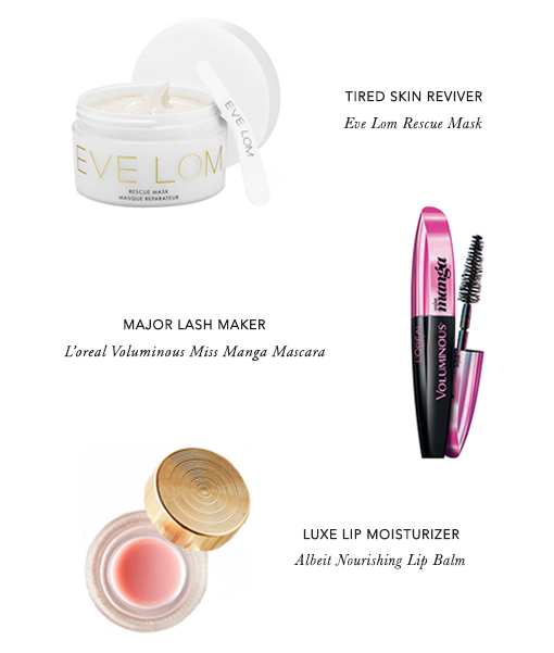 Eve Lom Rescue Mask, L'oreal Voluminous Miss Manga Mascara, Albeit Nourishing Lip Balm