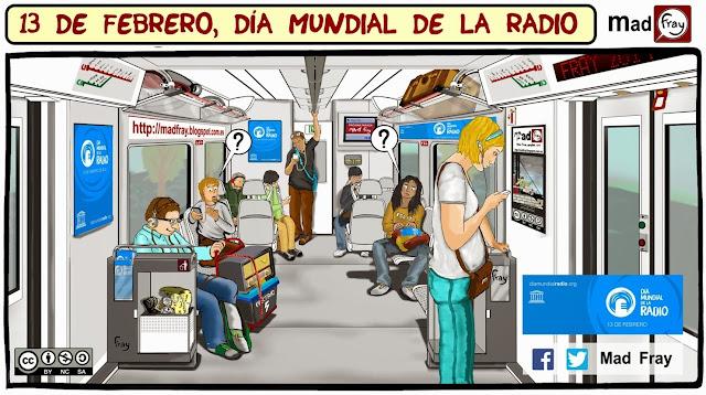 """Viñeta """"Día mundial de la Radio"""" Viajeros en un tren de cercanias escuchan la radio, ante el asombro de todos un pasajero escucha un radio antigua de los años 60 que lleva en un carro."""