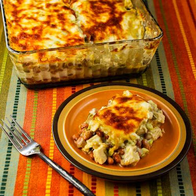 Layered Mexican Casserole with Chicken, Green Chiles, Pinto Beans, and Cheese found on KalynsKitchen.com