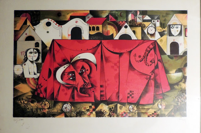 Eduard Alcoy litografía toro y paisaje tauromaquia