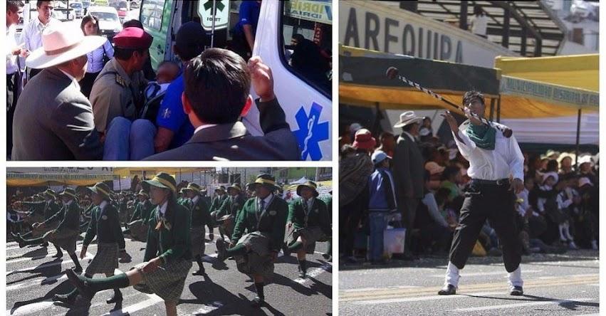 Tres alumnos se desmayan en desfile por el 58 Aniversario de la Federación de Círculos Sociales Católicos de Arequipa (Circa)
