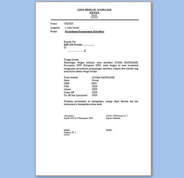 Contoh Surat Permohonan Perpanjangan Akreditasi Sekolah/Madrasah