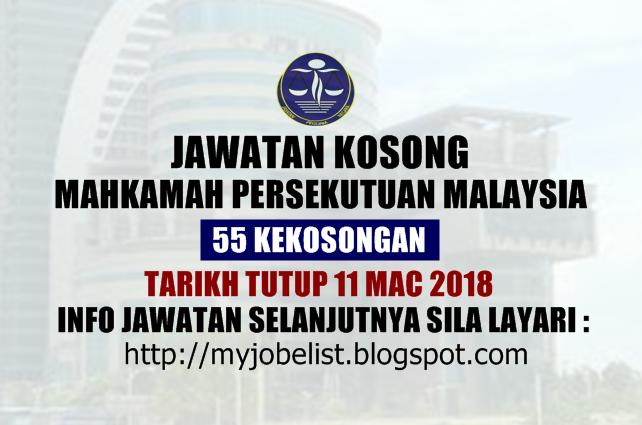 Jawatan Kosong Mahkamah Persekutuan Malaysia Mac 2018