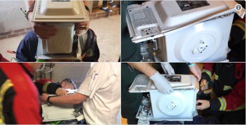 VIDEO, Casi muere al meter su cabeza en microondas lleno de cemento