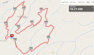 Rute Tretes 10K Night Run 2016 Pasuruan jawa timur prigen kawasan wisata tretes