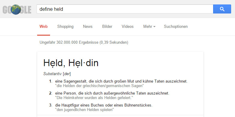 Google Definition Held