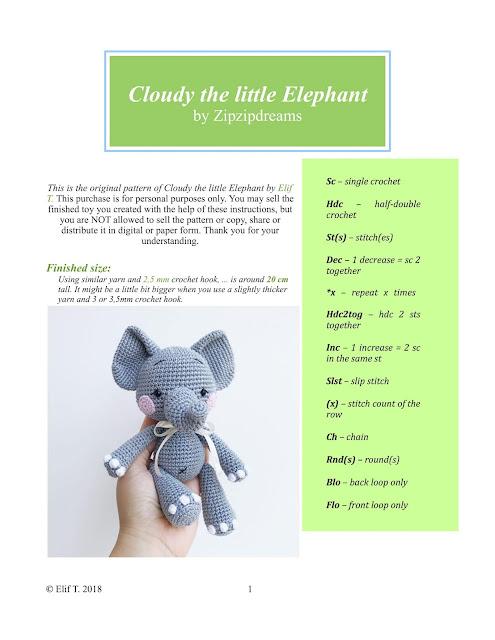 Mini Elefante Receita de Amigurumi de Crochê por Little Bear Crochets   640x495