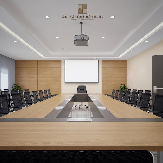 Chiếc bàn họp với chất liệu gỗ công nghiệp chất lượng cao đã giúp tổng thể không gian thiết kế nội thất phòng họp trở nên đẳng cấp hơn nhiề