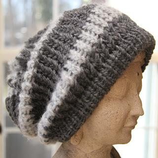 Loom Knit Striped slouch hat pattern