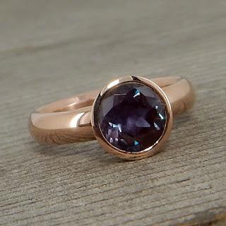 alexandrite rose gold ring