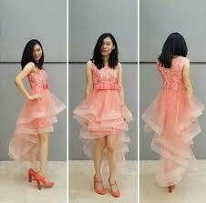 Dress Pesta Brokat Pendek Warna Orange