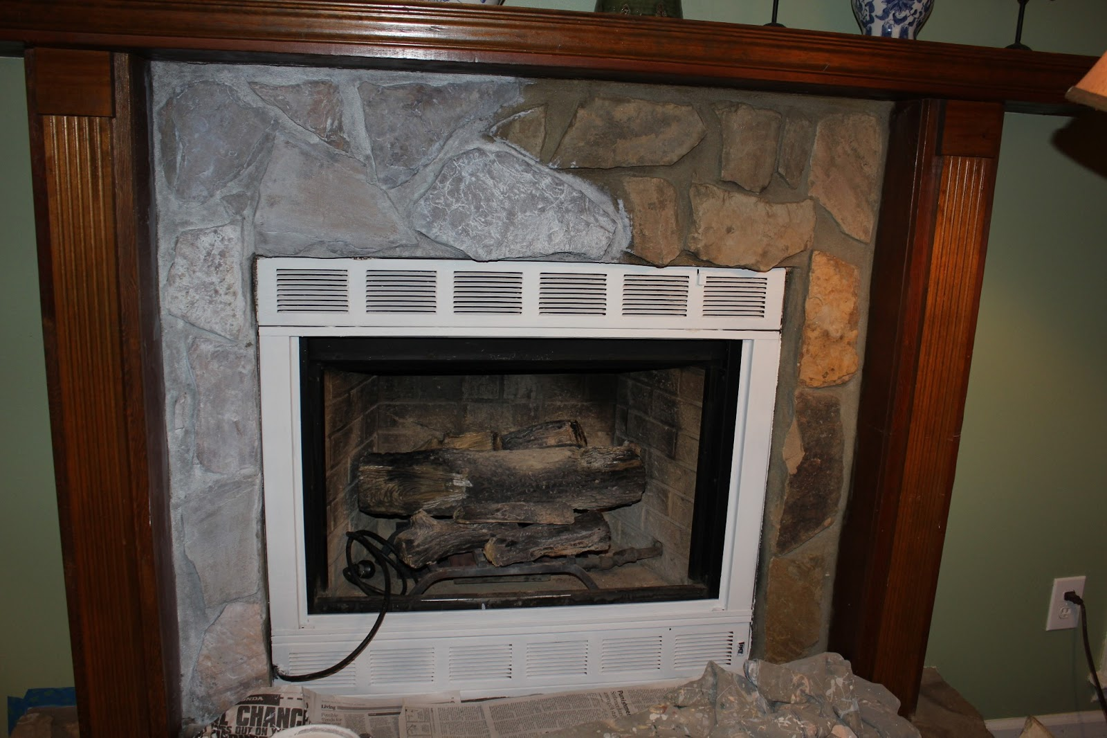 The Periwinkle Porch Painting A Stone Fireplace From