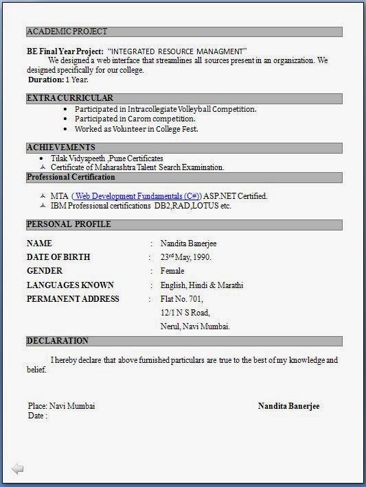 Sample Computer Teacher Resume India | Employment Cover