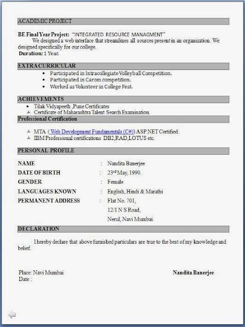 resume format download free pdf