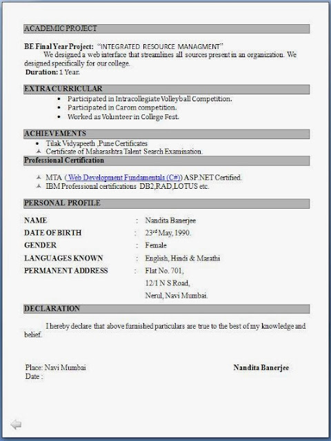 Fresher Resume Format For Free