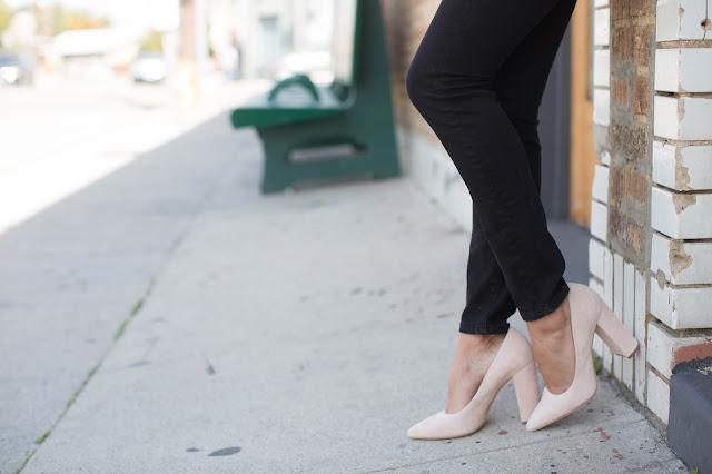 casual venice LA outfit, how to wear block heels, pour la victoire heels