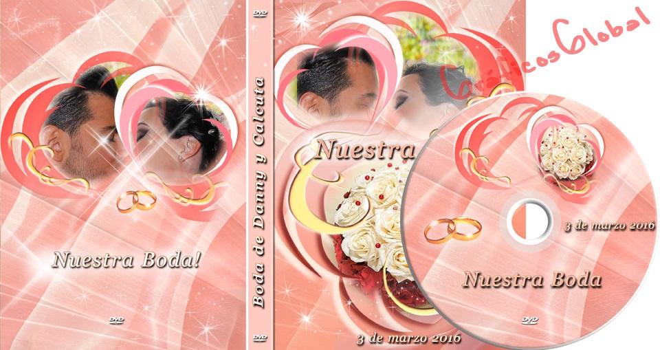 Portada dvd psd diseño elegante con rosas y corazones