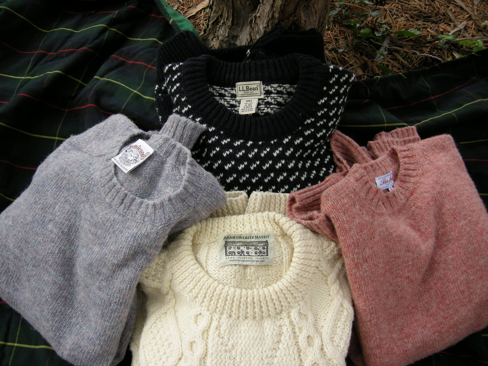 the LL Bean Norwegian classic is flanked by a pair of heather Shetland wool  crewneck sweaters from Scotland. The hand knit Irish fisherman s sweater is  from ... 64cc5eb00b4