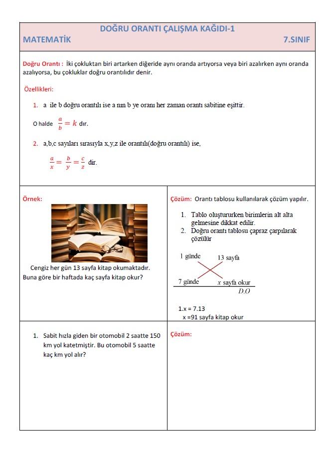 7 Sinif Dogru Oranti Calisma Kagidi 1 Test Matematik