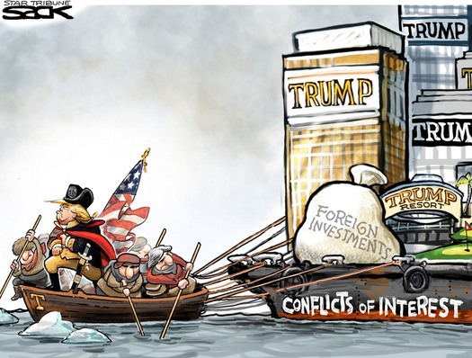 Image of Donald Trump as Washington crossing the Delaware towing a YUUUUUGGGGEEEE barge filled with buildings labeled
