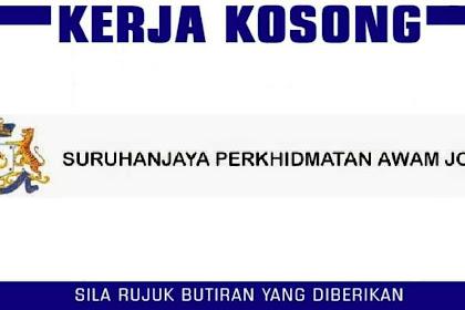 Jawatan Kosong Terkini Suruhanjaya Perkhidmatan Awam Johor (SPAJ) • Kumpulan Pengurusan / Profesional / Pelaksana