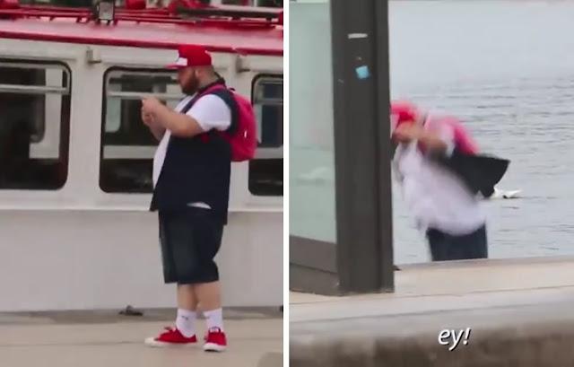 video detik-detik pria gendut tercebur danau gara-gara pokemon go