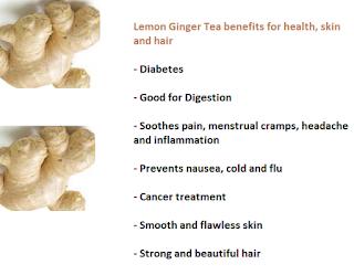 Lemon Ginger Tea benefits for health, skin and hair