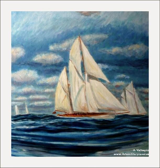 Pintura al óleo de un velero clásico navegando