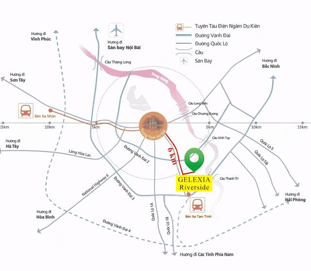 Vị trí đắc địa tại dự án chung cư Gelexia Riverside Hoàng Mai