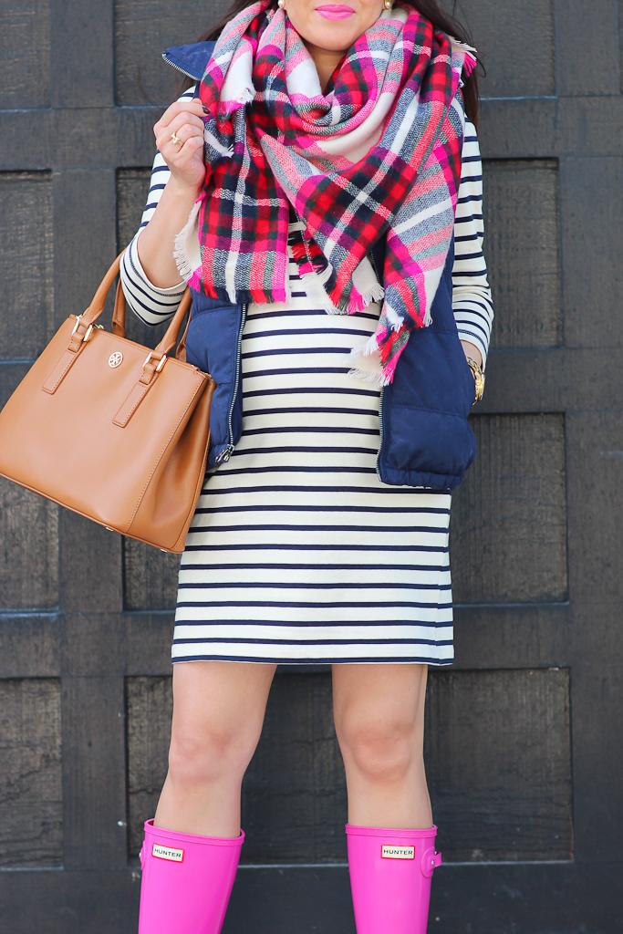 Stripes Navy Vest And Pink Hunter Boots Stylish Petite