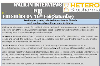 Walk in interview@ Hetero for multiple positions on 16 February