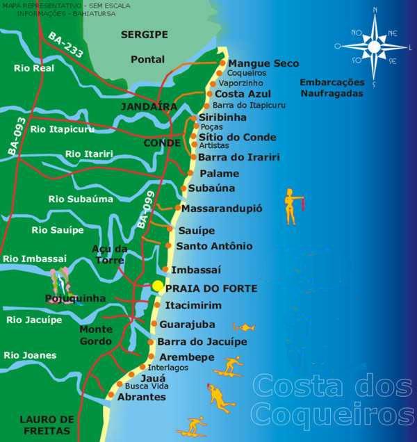mapa praias norte Mapas da Praia do Forte   BA | MapasBlog mapa praias norte