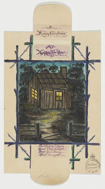 """Christmas Card design depicting an Australian wooden house with the words """"A Merry Christmas A Happy New Year""""."""