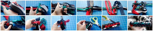 Step-by-step making a DIY dog tug toy from old t-shirt hems