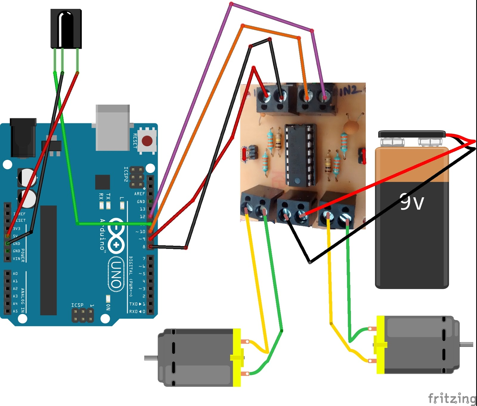 medium resolution of the circuit diagram don t forget to power the arduino 3 link for the ir remote library