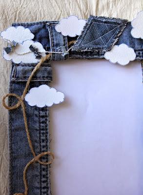 рамка для фото, из джинс,  облака, воздушный змей