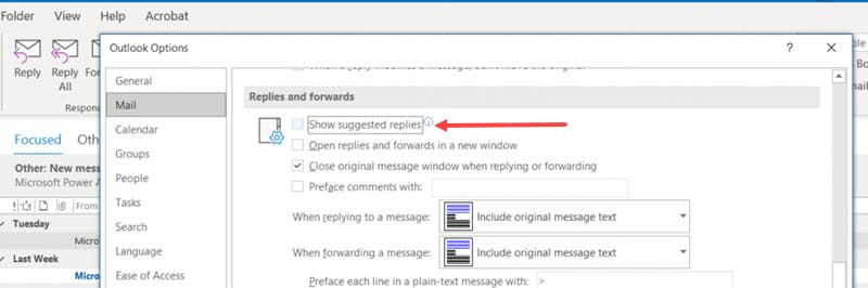 How to turn off suggested replies in Outlook client