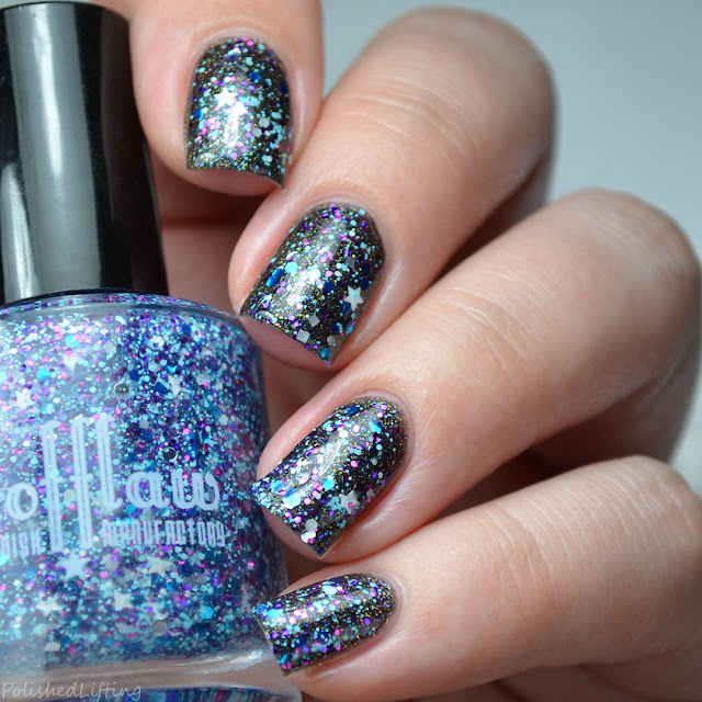 purple blue star glitter nail polish topper