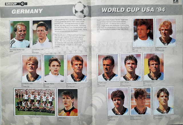 WORLD CUP USA '94 STICKER ALBUM COLLECTION GROUP C GERMANY