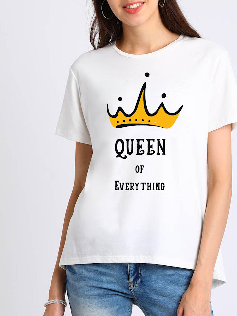 Women Queen Of Everything White T-shirt