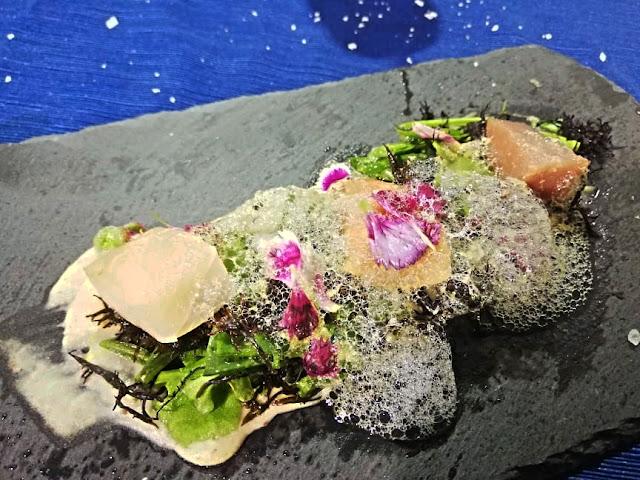 Cobia, tonno e salmone, salicornia, mauro