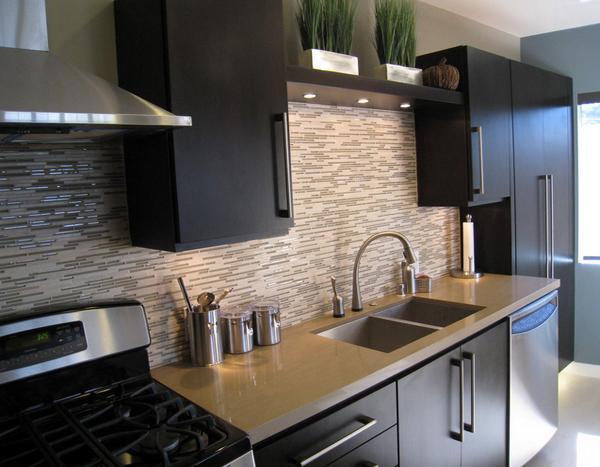 Ide menarik desain keramik dinding dapur rancangan desain rumah minimalis Modern kitchen design ideas houzz